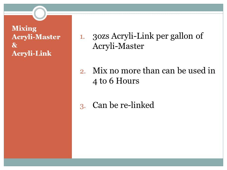 Mixing Acryli-Master & Acryli-Link 1. 3ozs Acryli-Link per gallon of Acryli-Master 2.