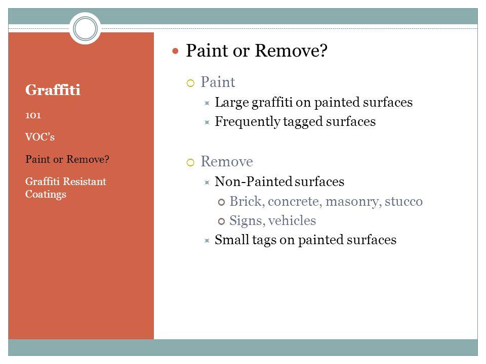 Graffiti 101 VOC's Paint or Remove. Graffiti Resistant Coatings Paint or Remove.