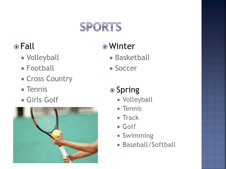  Fall  Volleyball  Football  Cross Country  Tennis  Girls Golf  Winter  Basketball  Soccer  Spring  Volleyball  Tennis  Track  Golf  Swimming  Baseball/Softball