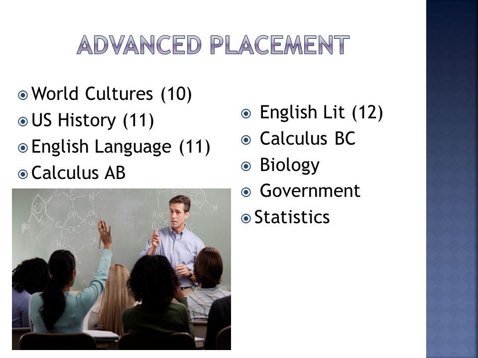  English Lit (12)  Calculus BC  Biology  Government  Statistics  World Cultures (10)  US History (11)  English Language (11)  Calculus AB