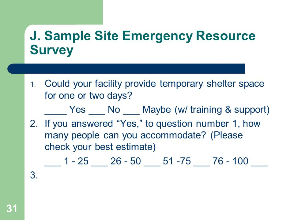 J. Sample Site Emergency Resource Survey 1.