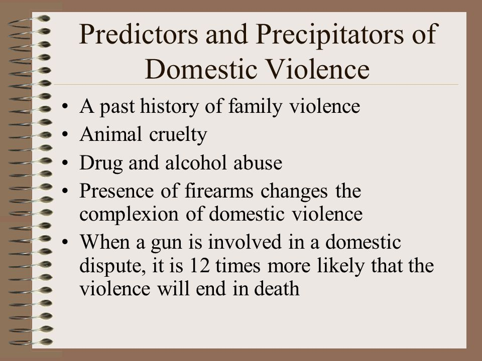 Predictors and Precipitators of Domestic Violence A past history of family violence Animal cruelty Drug and alcohol abuse Presence of firearms changes