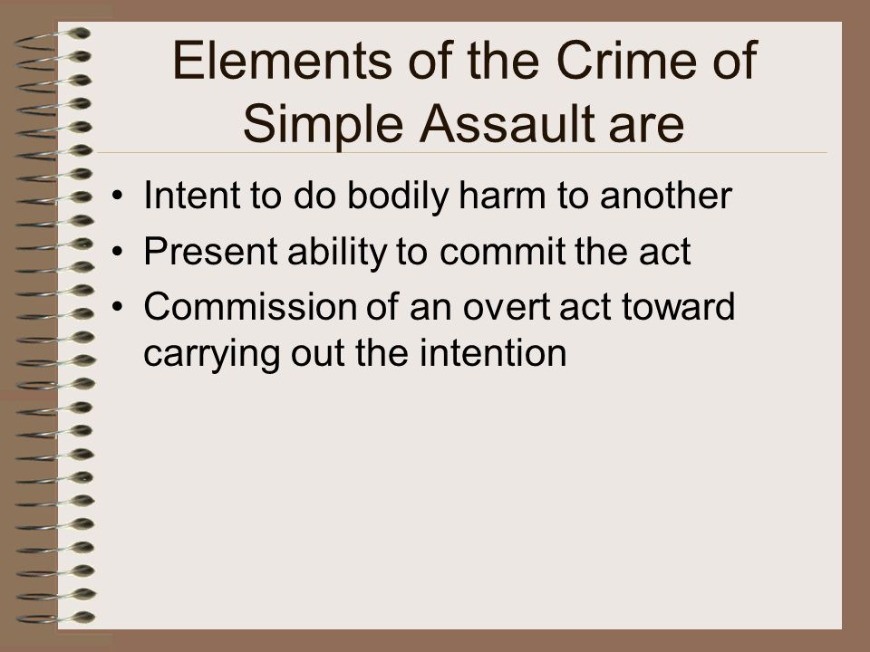 Aggravated Assault An additional element of aggravated assault is that the intentionally inflicted bodily injury must have resulted in one of the following: A high probability of death Serious permanent disfigurement Permanent or protracted loss or impairment of the function of any body member or organ or other severe bodily harm