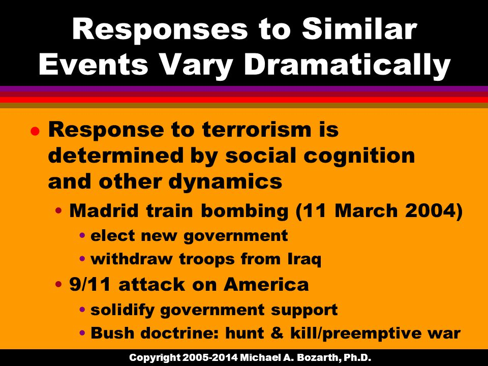 Responses to Similar Events Vary Dramatically l Response to terrorism is determined by social cognition and other dynamics Madrid train bombing (11 March 2004) elect new government withdraw troops from Iraq 9/11 attack on America solidify government support Bush doctrine: hunt & kill/preemptive war