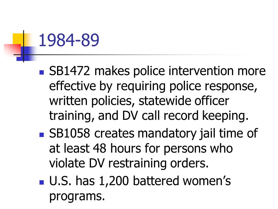 1984-89 SB1472 makes police intervention more effective by requiring police response, written policies, statewide officer training, and DV call record keeping.