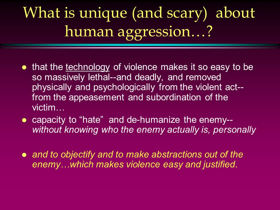 What is unique (and scary) about human aggression….