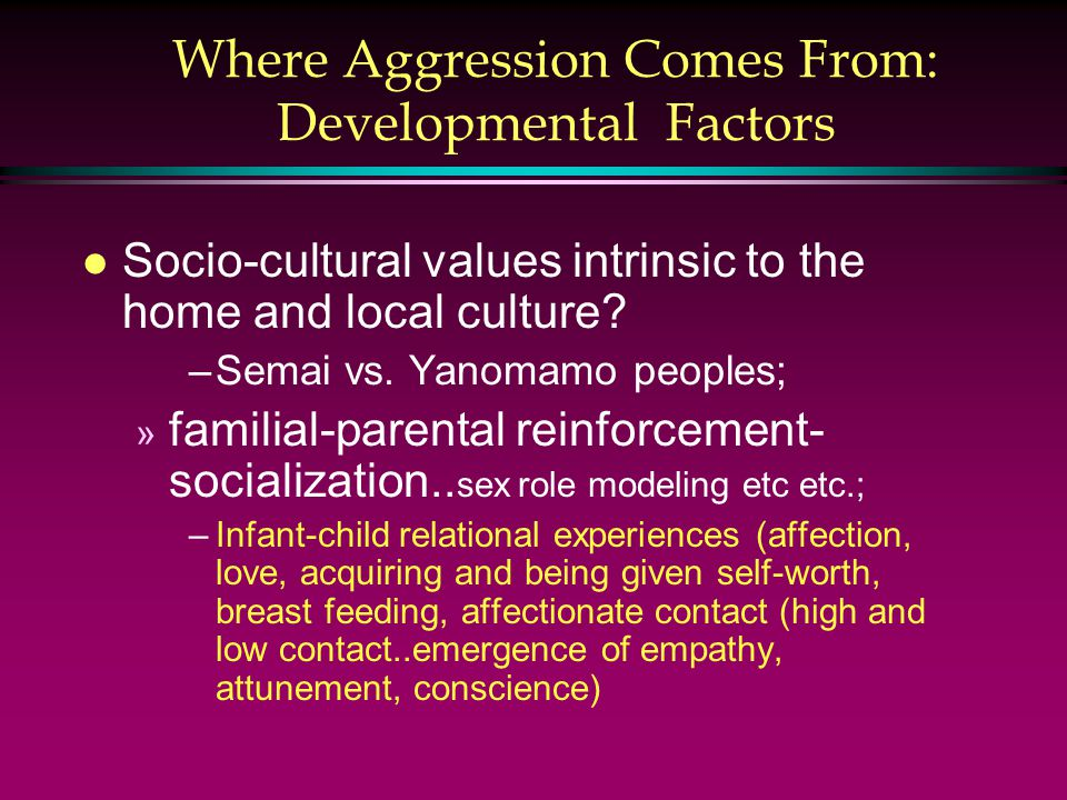 Where Aggression Comes From: Developmental Factors l Socio-cultural values intrinsic to the home and local culture.