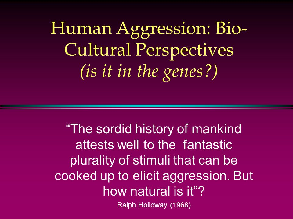 Human Aggression: Bio- Cultural Perspectives (is it in the genes ) The sordid history of mankind attests well to the fantastic plurality of stimuli that can be cooked up to elicit aggression.