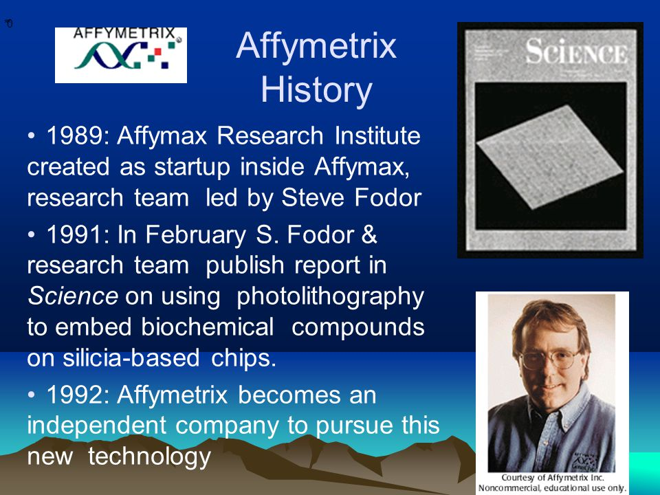 * * 0 Affymetrix History 1989: Affymax Research Institute created as startup inside Affymax, research team led by Steve Fodor 1991: In February S.