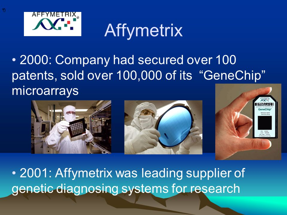 * * 0 Affymetrix 2000: Company had secured over 100 patents, sold over 100,000 of its GeneChip microarrays 2001: Affymetrix was leading supplier of genetic diagnosing systems for research