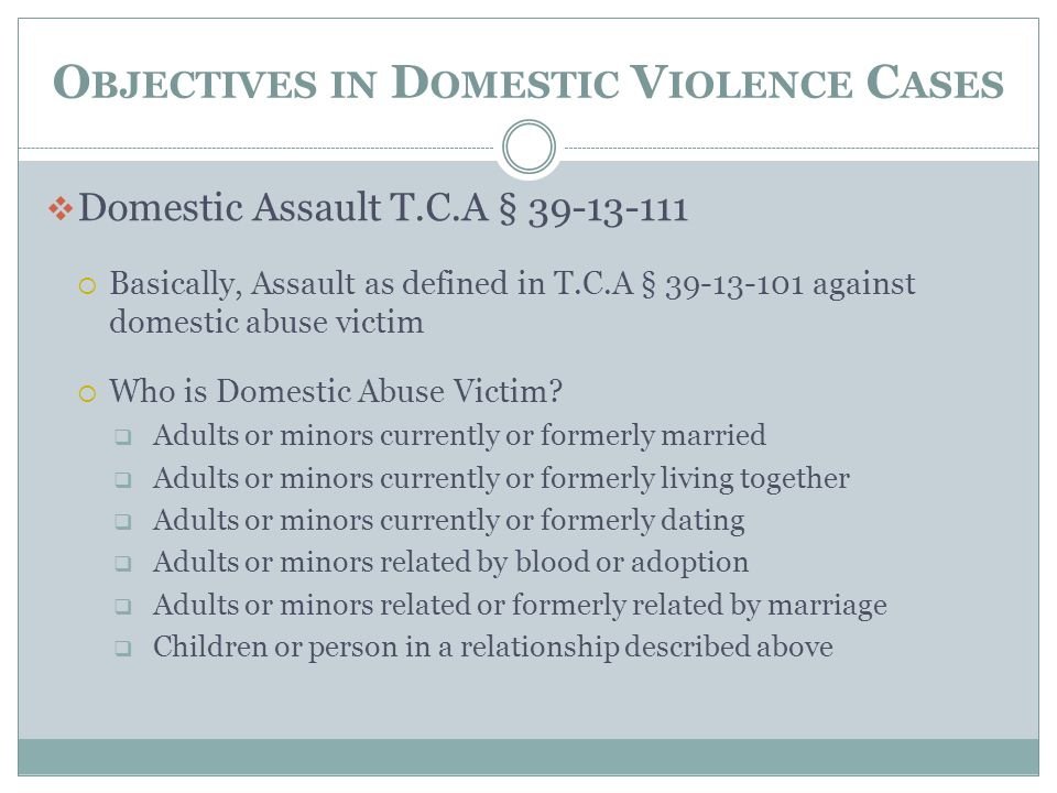 O BJECTIVES IN D OMESTIC V IOLENCE C ASES  Domestic Assault T.C.A § 39-13-111  Basically, Assault as defined in T.C.A § 39-13-101 against domestic a