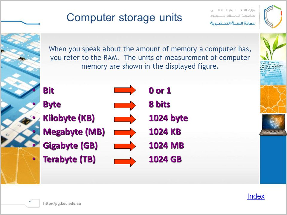 When you speak about the amount of memory a computer has, you refer to the RAM.