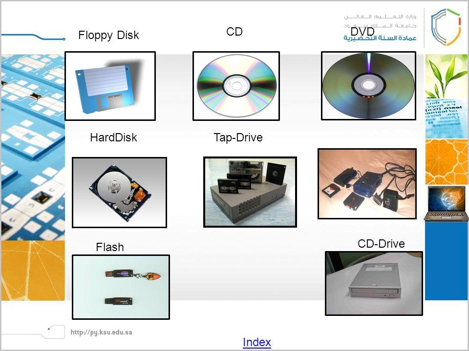 Floppy Disk CDDVD HardDiskTap-Drive Flash CD-Drive Index