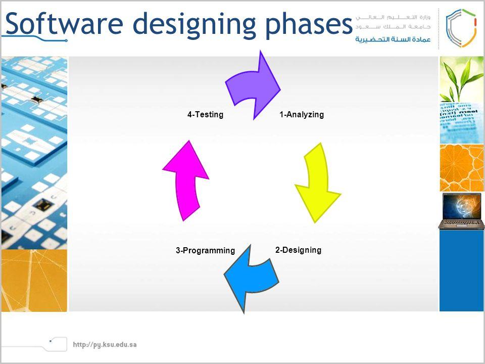 Software designing phases 1-Analyzing 2- Designing 3- Programming 4-Testing