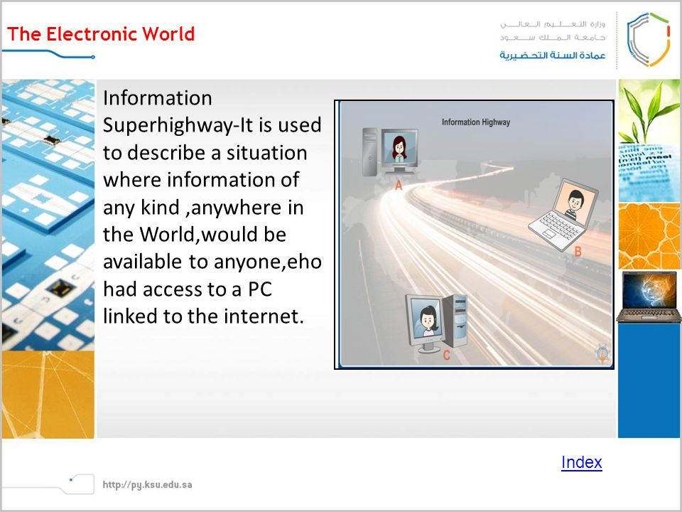 The Electronic World Information Superhighway-It is used to describe a situation where information of any kind,anywhere in the World,would be available to anyone,eho had access to a PC linked to the internet.