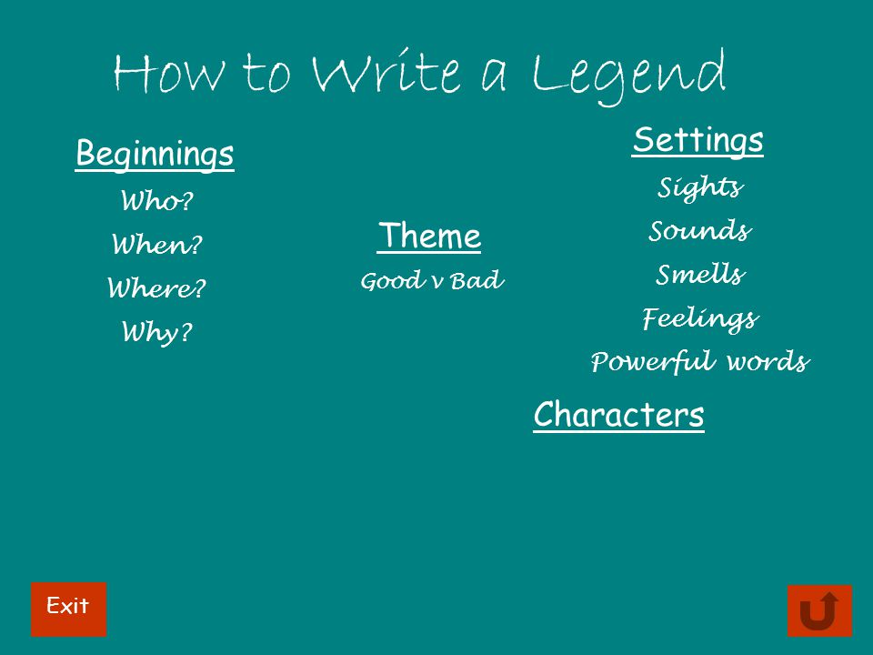 How to Write a Legend Beginnings Who? When? Where? Why? Settings Sights Sounds Smells Feelings Powerful words Theme Good v Bad Characters Exit