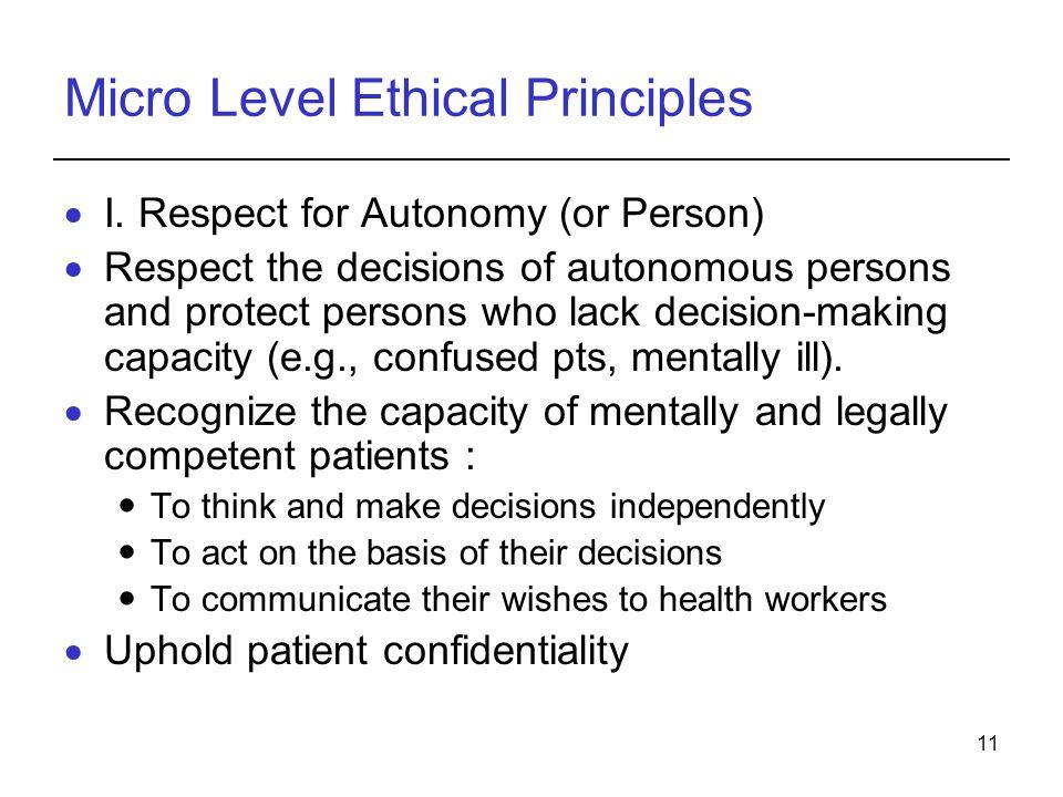 11 Micro Level Ethical Principles  I.