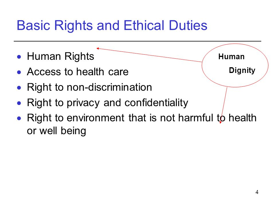 4 Basic Rights and Ethical Duties  Human Rights  Access to health care  Right to non-discrimination  Right to privacy and confidentiality  Right
