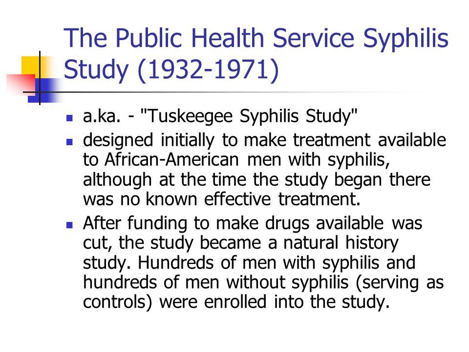 The Public Health Service Syphilis Study (1932-1971) a.ka. -