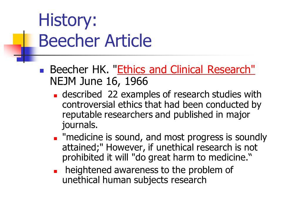 History: Beecher Article Beecher HK.