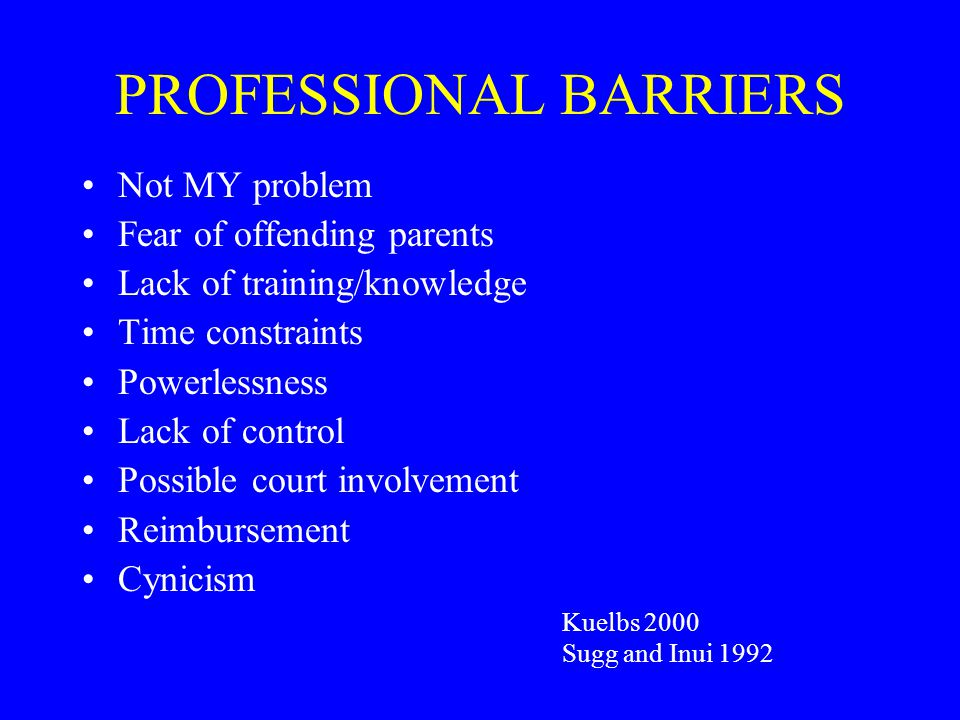 PROFESSIONAL BARRIERS Not MY problem Fear of offending parents Lack of training/knowledge Time constraints Powerlessness Lack of control Possible cour