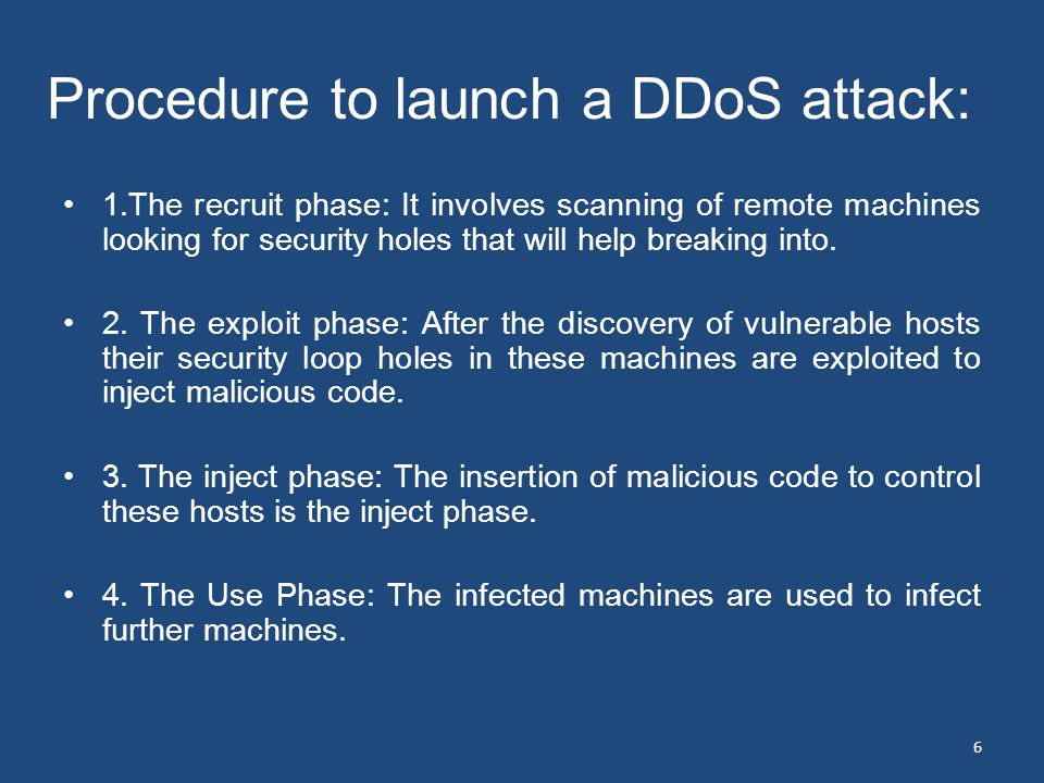 Procedure to launch a DDoS attack: 1.The recruit phase: It involves scanning of remote machines looking for security holes that will help breaking into.