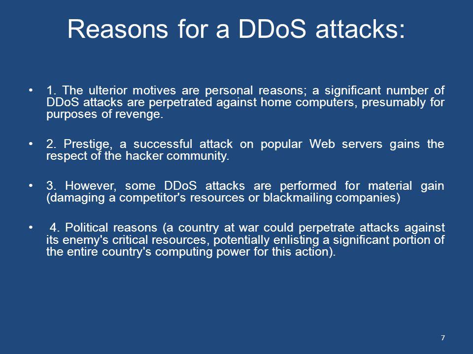 Reasons for a DDoS attacks: 1.