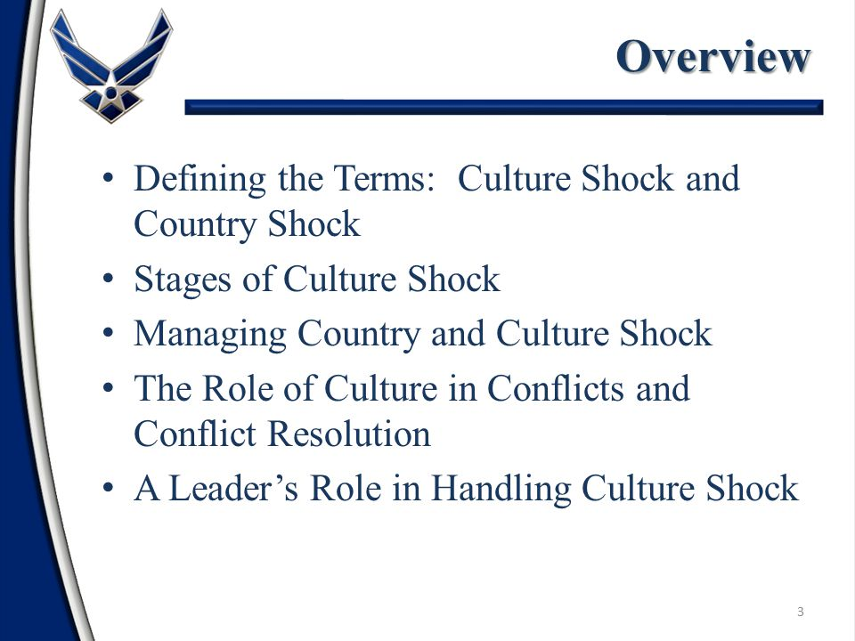 Defining the Terms: Culture Shock and Country Shock Stages of Culture Shock Managing Country and Culture Shock The Role of Culture in Conflicts and Conflict Resolution A Leader's Role in Handling Culture ShockOverview 3