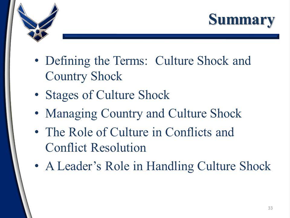 Defining the Terms: Culture Shock and Country Shock Stages of Culture Shock Managing Country and Culture Shock The Role of Culture in Conflicts and Conflict Resolution A Leader's Role in Handling Culture ShockSummary 33