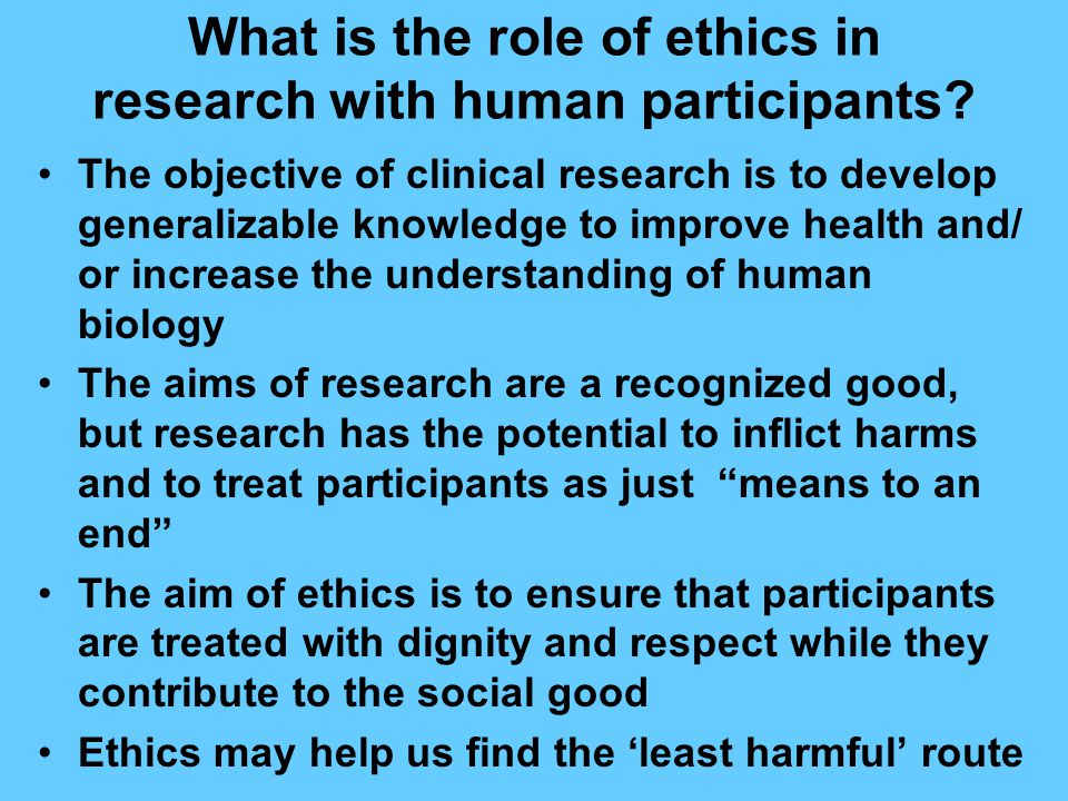 What is the role of ethics in research with human participants.