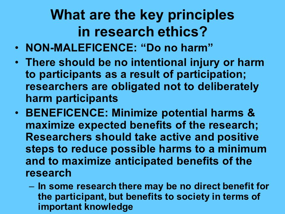 What are the key principles in research ethics.