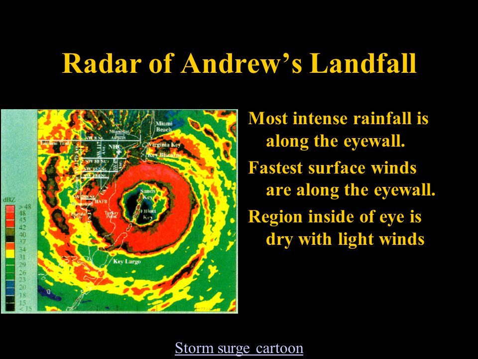 Radar of Andrew's Landfall Most intense rainfall is along the eyewall.