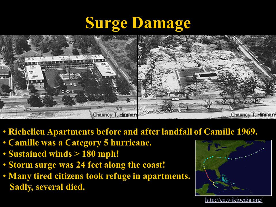 Surge Damage Richelieu Apartments before and after landfall of Camille 1969.