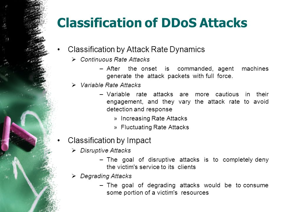 Classification of DDoS Attacks Classification by Attack Rate Dynamics  Continuous Rate Attacks –After the onset is commanded, agent machines generate
