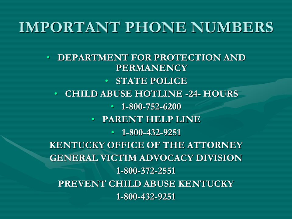 IMPORTANT PHONE NUMBERS DEPARTMENT FOR PROTECTION AND PERMANENCYDEPARTMENT FOR PROTECTION AND PERMANENCY STATE POLICESTATE POLICE CHILD ABUSE HOTLINE