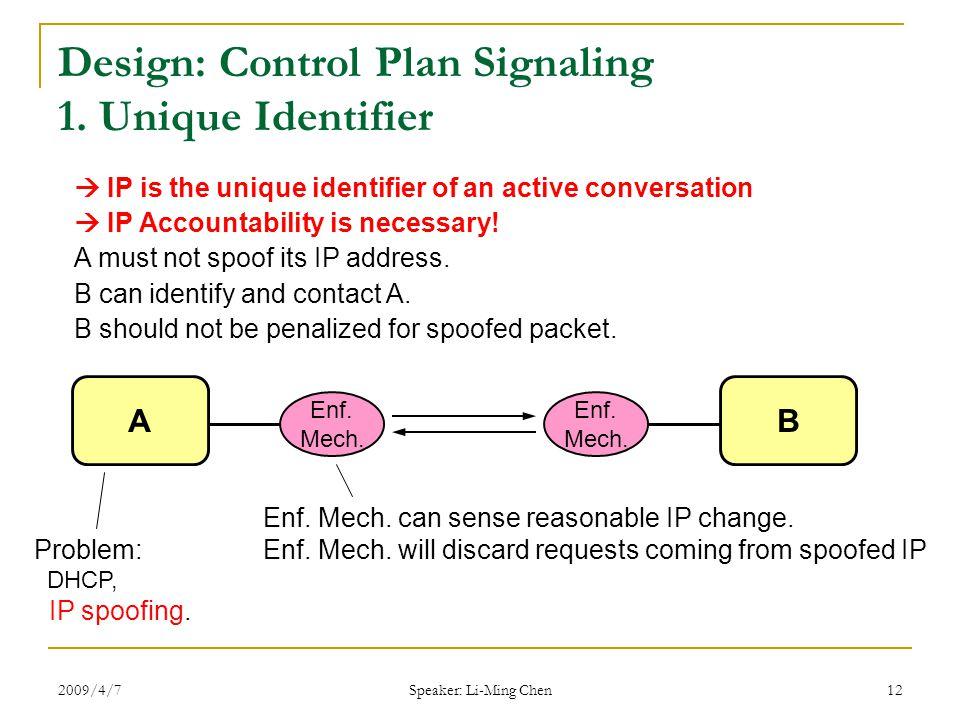 2009/4/7 Speaker: Li-Ming Chen 12 Design: Control Plan Signaling 1.