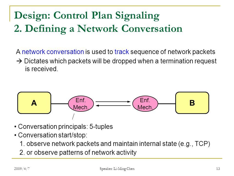 2009/4/7 Speaker: Li-Ming Chen 13 Design: Control Plan Signaling 2.