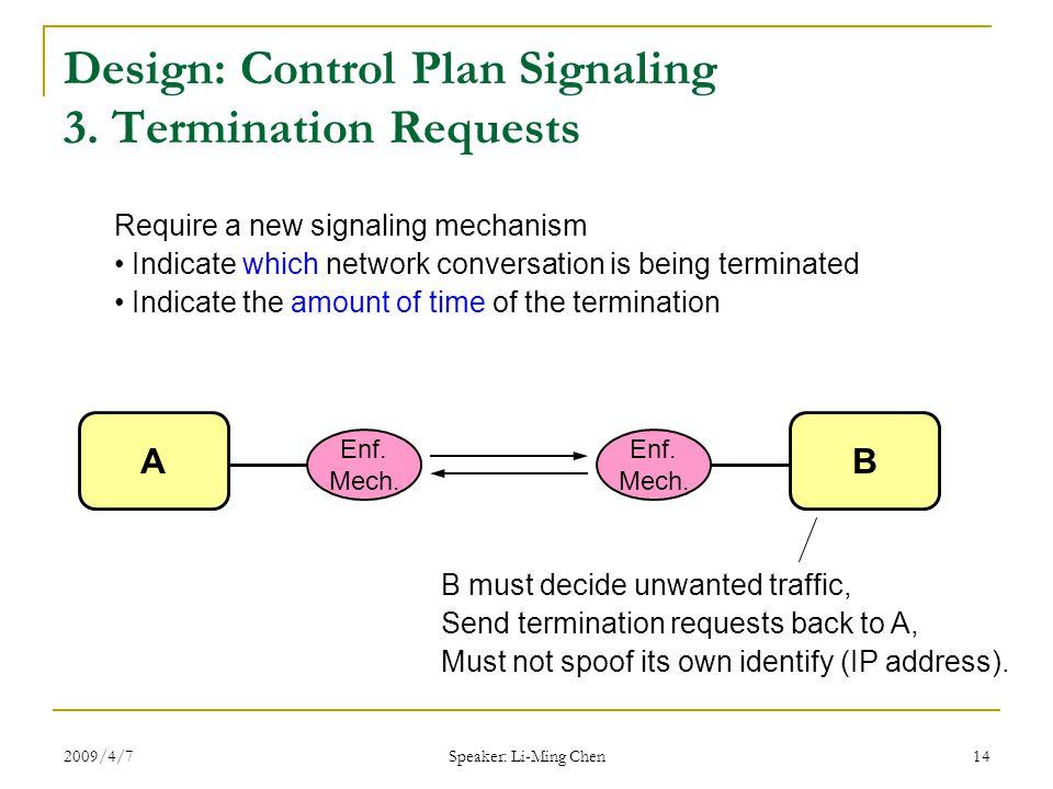 2009/4/7 Speaker: Li-Ming Chen 14 Design: Control Plan Signaling 3.