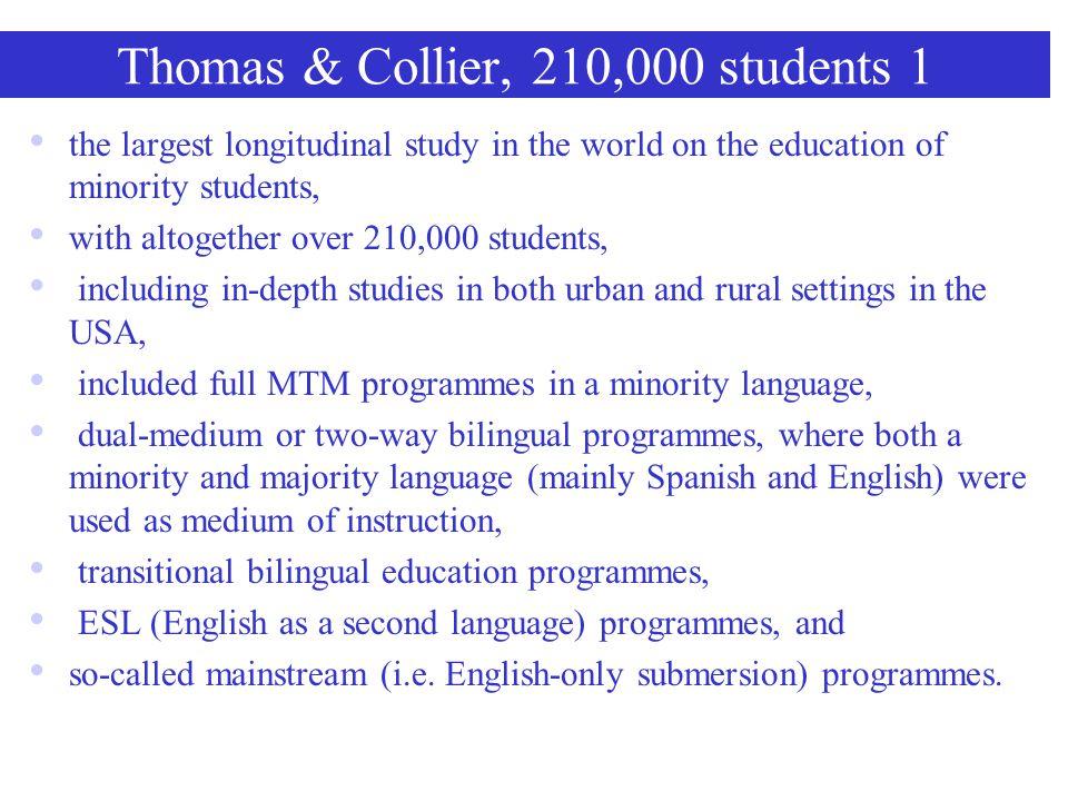 Ramirez et al. study, 1991, 2,352 students GroupMedium of educationResults English only EnglishLow levels of English and school achievement; likely no