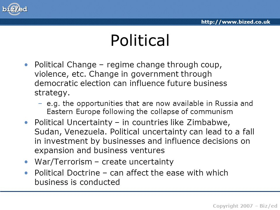 http://www.bized.co.uk Copyright 2007 – Biz/ed Political Political Change – regime change through coup, violence, etc.