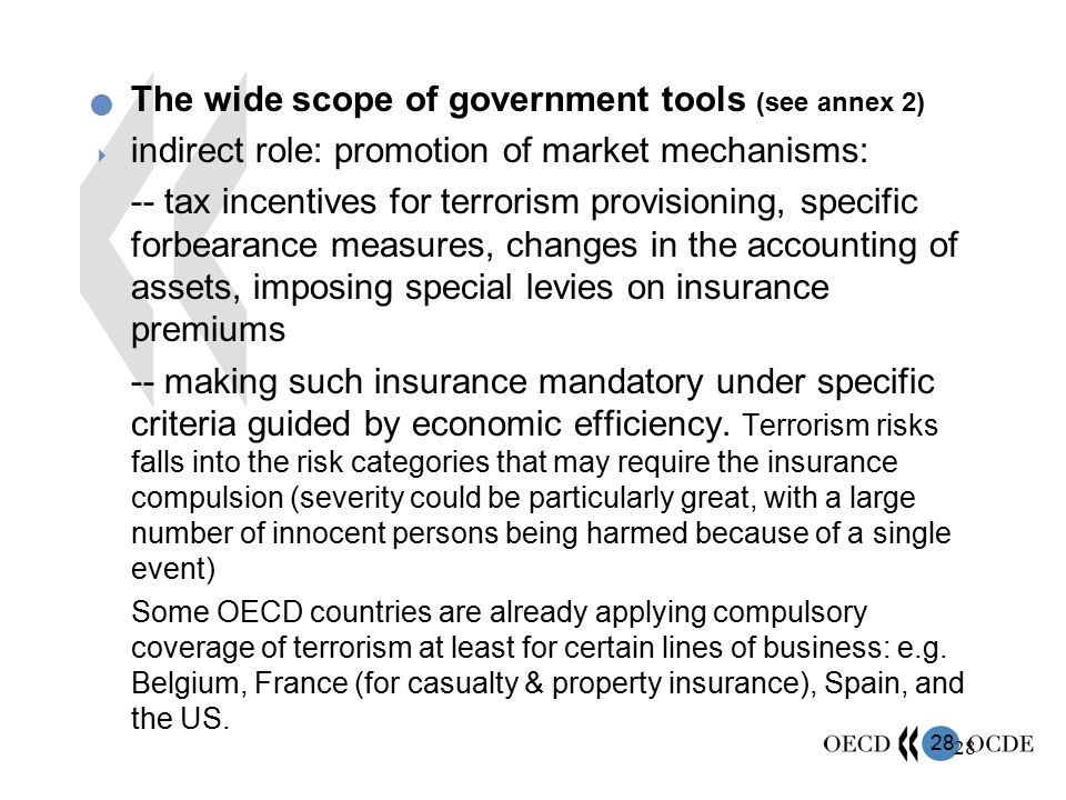 28 The wide scope of government tools (see annex 2)  indirect role: promotion of market mechanisms: -- tax incentives for terrorism provisioning, spe