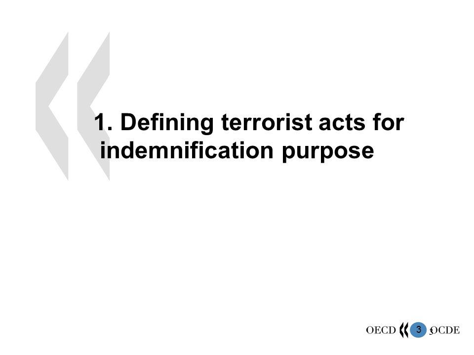 44 Adopt:  a long-term perspective to terrorism coverage defining and separating the short-term needs and longer-term challenges relative to the coverage of terrorism;  a flexible approach: the form of terrorism events may evolve in time, as well as their insurance market coverage.