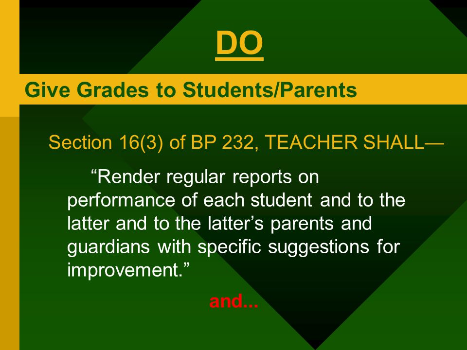 """Give Grades to Students/Parents """"Render regular reports on performance of each student and to the latter and to the latter's parents and guardians wit"""