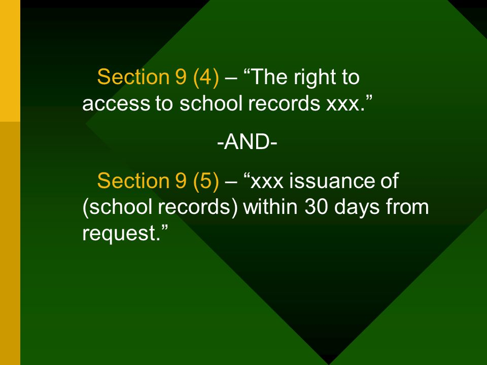 """Section 9 (4) – """"The right to access to school records xxx."""" -AND- Section 9 (5) – """"xxx issuance of (school records) within 30 days from request."""""""