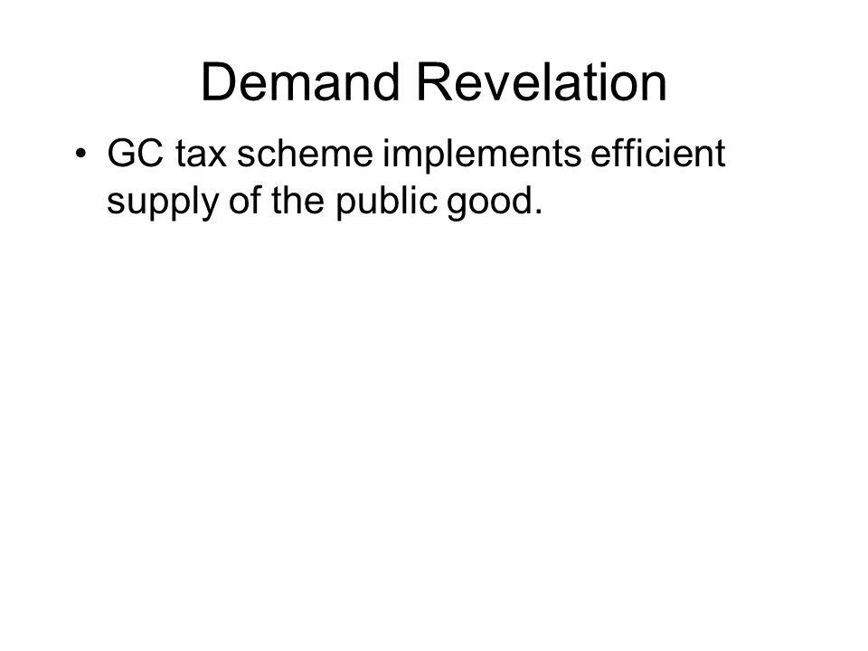 Demand Revelation GC tax scheme implements efficient supply of the public good.