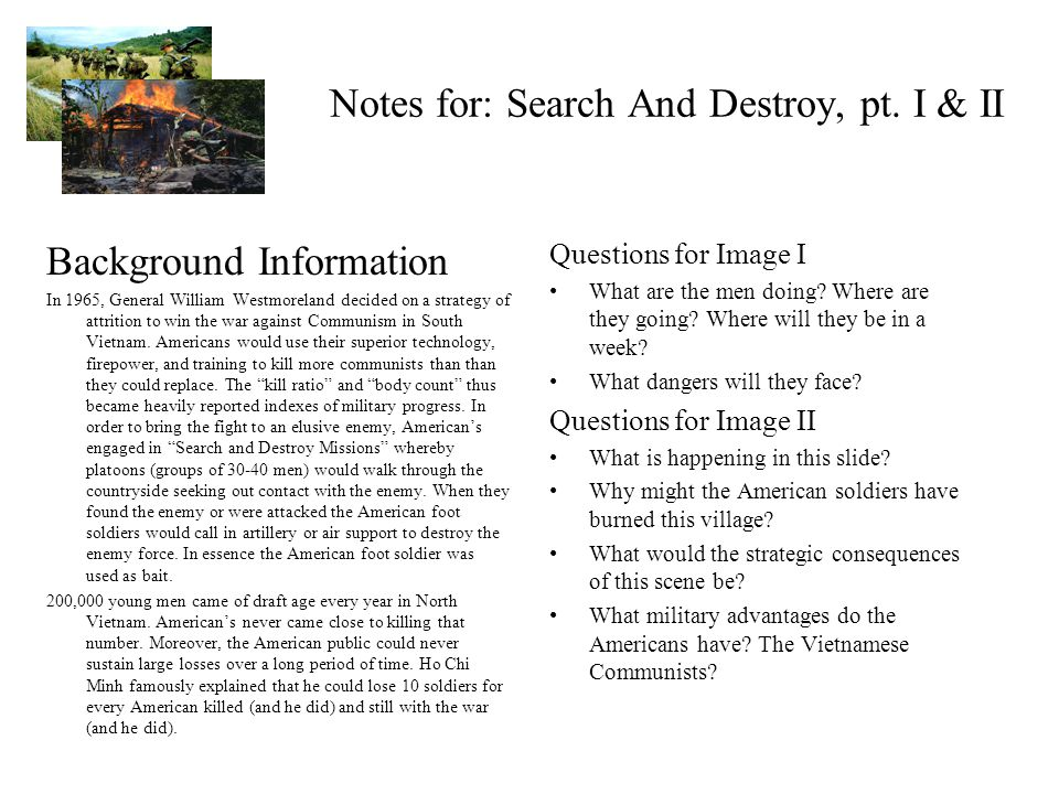 Notes for: Search And Destroy, pt.
