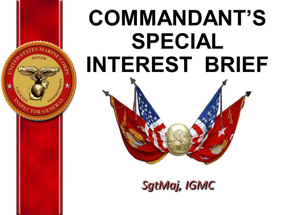 COMMANDANT'S SPECIAL INTEREST BRIEF SgtMaj, IGMC
