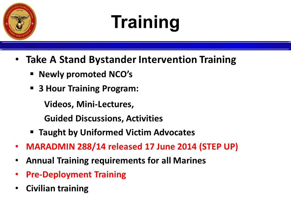 Training Take A Stand Bystander Intervention Training  Newly promoted NCO's  3 Hour Training Program: Videos, Mini-Lectures, Guided Discussions, Act