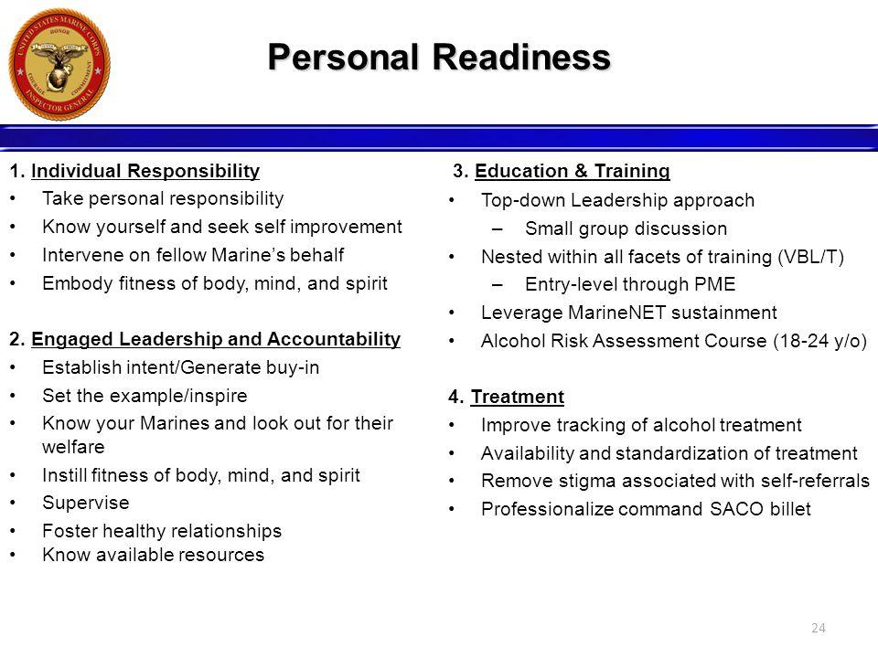Personal Readiness 1. Individual Responsibility Take personal responsibility Know yourself and seek self improvement Intervene on fellow Marine's beha