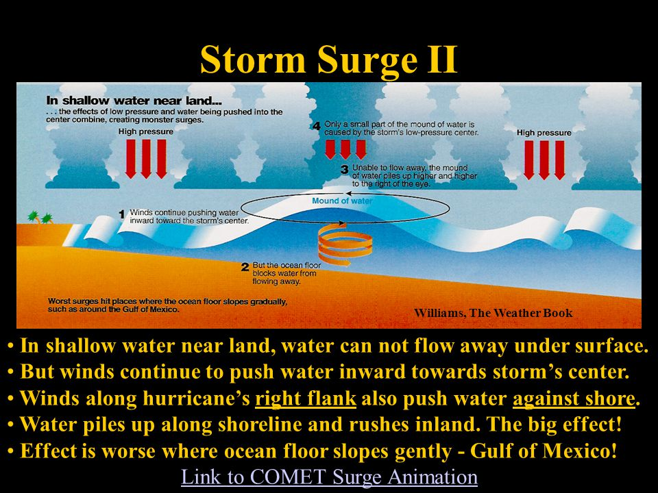 Storm Surge II Williams, The Weather Book In shallow water near land, water can not flow away under surface.